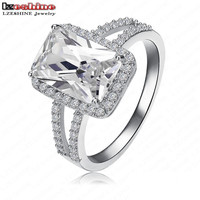 LZESHINE Brand Big Rectangle Cut Princess Ring 18K Gold/ Platinum Plated Clear AAA Cubic Zircon Ring Western Style aneis CRI0014