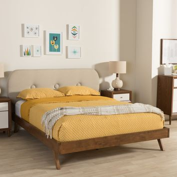 Baxton Studio Penelope Mid-Century Modern Solid Walnut Wood Light Beige Fabric Upholstered King Size Platform Bed Set of 1
