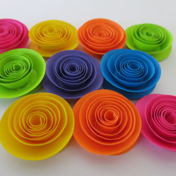 """Shocking Neon Rainbow Roses, set of 10, 1.5"""" paper flowers, 80's theme birthday, skating party decor, wedding decorations, baby shower gift"""