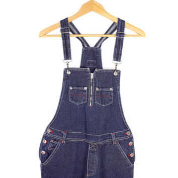 90s london denim overalls / vintage 1990s / lobster clip bib /  womens large