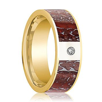 ADZE Men's 14k Yellow Gold Wedding Ring with Diamond and Red Dinosaur Bone Flat Polished Design - 8MM
