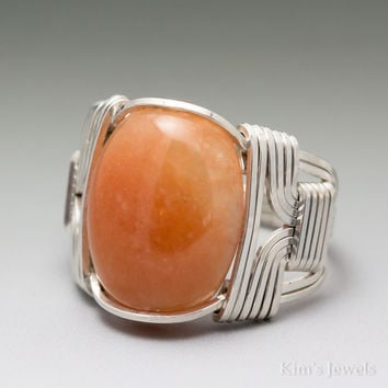Peach Aventurine Cabochon Sterling Silver Wire Wrapped Ring