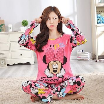 Hot Women Pregnant Pajamas Set Sleepwear Nightgown Home Soft Cotton Long Sleeve Tops&Pant Maternity Pajamas Mickey Free shipping