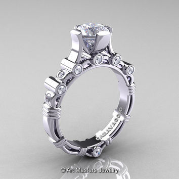 Art Masters Caravaggio 950 Platinum 1.0 Ct White Sapphire Diamond Solitaire Engagement Ring R625-950PLATDWS