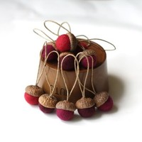 Supermarket: Felted Acorns Ornaments - set of 10 in festive reds from delica