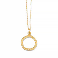 16in x 2in 14 Karat Gold Plated Necklace with Open Cubic Zirconia Circle