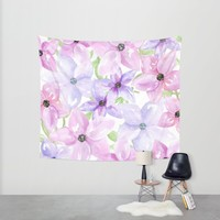 clematis vines Wall Tapestry by Sylvia Cook Photography