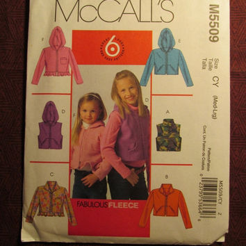 SALE Uncut McCall's Sewing Pattern, 5509! Medium/Large/Girls/Kids/Child/Hooded Jackets/Zip Up Vests/Sleeveless Blazers/Collared Coats