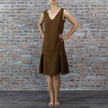 Pure Linen Low Waist Dress