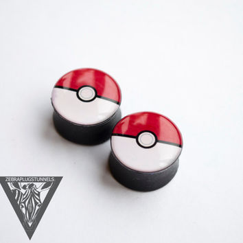 SALE Pokeball Plugs image ear gauges 4,5,6,8,10,11,12,14,16,18-22,24,26-60mm;6g,4g,2g,0g,00g;1/4,5/16,3/8,1/2,9/16,5/8,3/4,7/8,1 1/4,1""