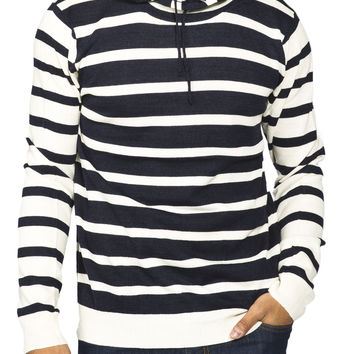 Guys Contrast Stripe Popover Hoodie Sweater