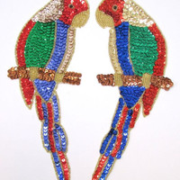 "Parrot Pai with Mulit-Colered Sequins and Gold Beads  10"" x 4"""