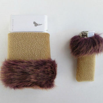 Elegant Cigarette Case and Lighter Cover, Womens Unique Smoking Set, Beige and Golden Purple, Faux Fur and Leatherette, Smoking Accessories