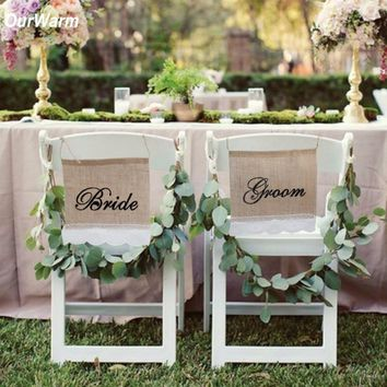 2Pcs/set Bride Groom Burlap Chair Banner Rustic Wedding Decoration