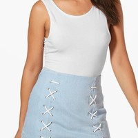 Laura Lace Up Micro Mini Denim Skirt | Boohoo