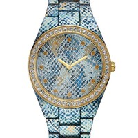 Blue Python-Print and Gold-Tone Sexy Sport Watch | GUESS.com
