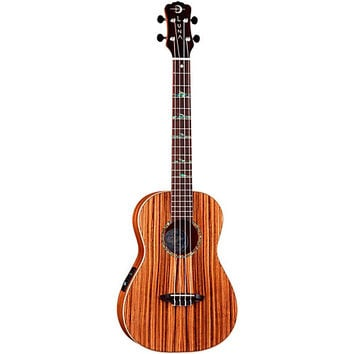 Luna Guitars Baritone Zebra Acoustic-Electric Ukulele Natural High Tide Design | Guitar Center