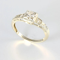 Antique Diamond Engagement Ring, 18K White Gold Art Deco Wedding Ring, Size 4
