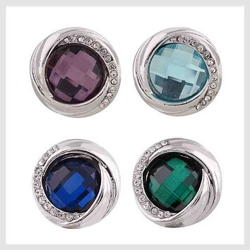 Set of 4 Colorful Stones Clear Crystals 20mm 3/4""