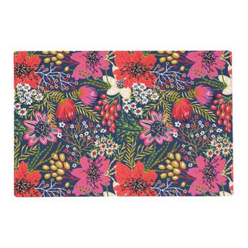 Vintage Bright Floral Pattern Fabric Placemat