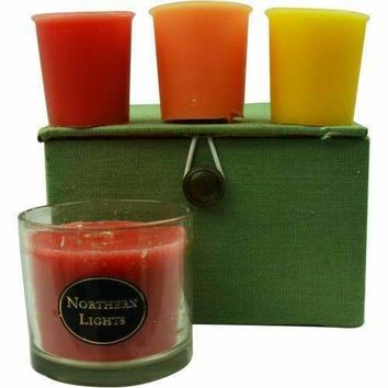 CANDLE GIFT BOX CHELSEA by Candle Gift Box Chelsea PINK, GREEN & YELLOW PLAID BOX SET CONTAINS ONE PERSIMMON & QUINCE SMALL GLASS VASE & THREE VOTIVES FEATURING SUMMER CITRUS, GINGER TEA & HONEY AND PEACHES & CREAM