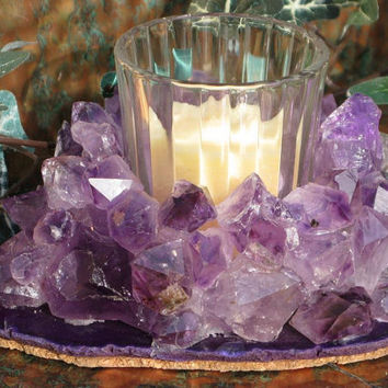 February Birthstone, Votive Candleholder with Amethyst Points and Purple Agate, Home Decor, Candlelight, Metaphysical
