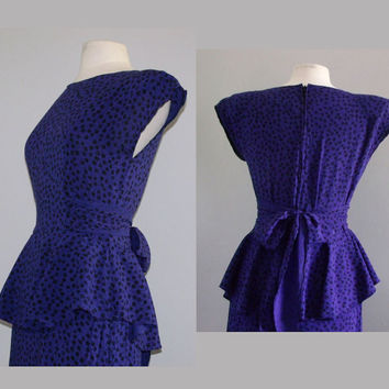1980s Blue Dress / Vintage Peplum Dress / by cashmerevintage
