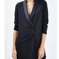 Tangada Women Double Breasted Navy Long Blazer Fashion Long Sleeve For Business Office Workwear Jacket Cozy Casual LJ98