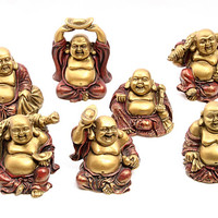 Happy Buddha Ho Tai Miniatures in Many Poses, Set of 7 Statues 3H