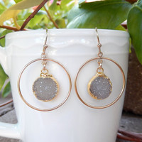 Gray Druzy Earrings Gold Chandelier Drusy Hoop Quartz Crystal Round Circle Drops - Free Shipping Jewelry
