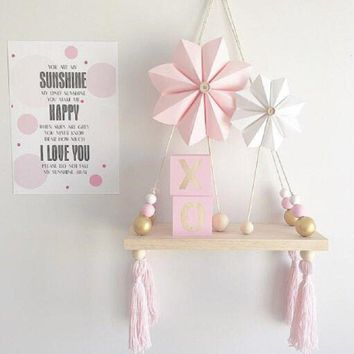 Kids Baby Bedroom Wall Hanging Ornaments Tassel Pearl Pendant Wooden Board Shelf Home Decoration