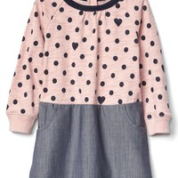 Dots & hearts mix-fabric dress | Gap