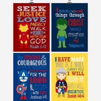 Christian Superhero Nursery Decor Art Print Set of 4 -Captain America, Ironman, Thor and Hulk - Multiple Sizes