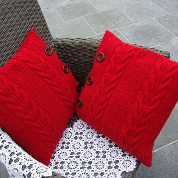 Red knitted pillows, chunky pillows, decorative pillows, throw pillows, cushions, red pillows, set of two, mothers day gift, gift for her