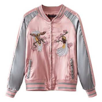 Spring Floral Birds Embroidery Souvenir Bomber Jacket Women Baseball Pocket Harajuku Pink Contrast Satin Duster Coat Sukajan