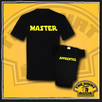 Master and Apprentice Matching Dad And Baby Shirts - New Baby - Father And Son Set - Clothes - Bodysuit - Father's Day - Baby