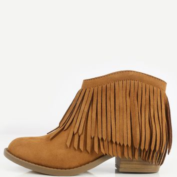 Soda Jervis-S Almond Toe Fringe Ankle Booties