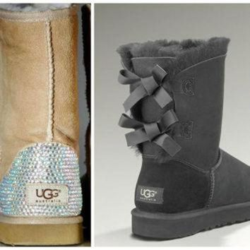 ICIK8X2 Swarovski Crystal Embellished Grey Bailey Bow Uggs - Winter / Holiday Bling UGGs 2013