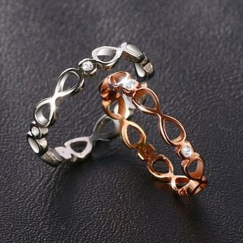 2017 New Female Fashion Infinity Ring Quality Stainless Steel Silver Rose Gold Color Ring for Women Cubic Zirconia Wedding Ring