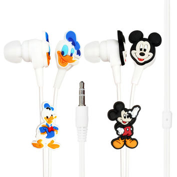 Glylezee Cartoon Mickey Mouse Duck Earpieces Headset Cute Donald Duck Earphones with 3.5MM Port for Cellphone Mp3 Player