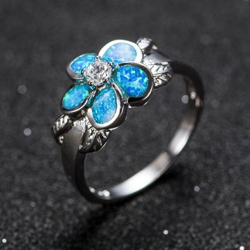 Gaxybb Fashion Blue Opal Fire CZ Ring Cross For Women / Men's Vintage Black Gold Filled Zircon Wedding Ring Jewelry