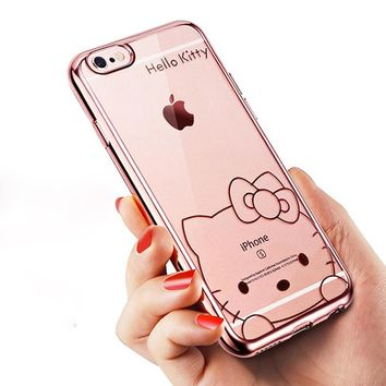 Hello Kitty Gilding Glossy Finish Soft TPU Case for iPhone 8 7 6S 6 Plus 5 5S SE