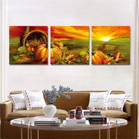 3 Pieces Unframed Canvas Print Pumpkin Painting Wall Art Oil Pictures for Children's Room Home Decor Poster Canvas Free Shipping