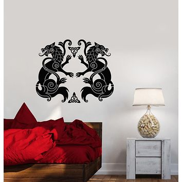 Vinyl Wall Decal Celtic Ornament Animals Wolves Predator Stickers (3679ig)
