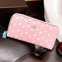 Coach Fashion New Animal Print Leather Wallet Purse Women Pink
