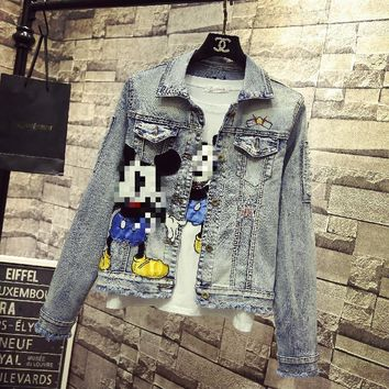 Trendy Fashion Denim Coats Women 2018 Spring Autumn Korean Style Cartoon Embroidered Badge Long Sleeve Slim Short Jeans Jacket Students AT_94_13