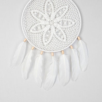 Dreamcatcher White Dream Catcher Crochet Doily Dreamcatcher white feathers boho wall hanging wall decor wedding decor wooden beads