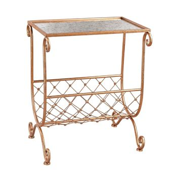 3138-227 Copper Side Table with Magazine Rack - Free Shipping!