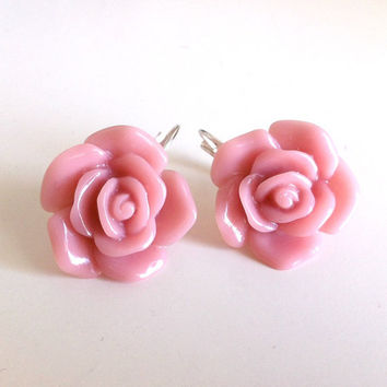 Dusty Rose Flower Earrings