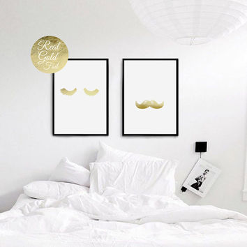 Mr and Mrs Lashes Moustaches Print, Bedroom Decor, Real Gold Foil Print, Minimal Print, Couple Print, Fashion Print, Set Of 2 Bedroom Prints
